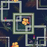 Geometric seamless pattern with tropical flowers and leaves on navy blue background,for decorative,fashion,fabric,textile,print royalty free illustration