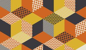 Geometric seamless pattern vector illustration in retro 60s style. Vintage 1970s geometry shapes graphic abstract repeatable. Motif for carpet, wrapping paper stock illustration