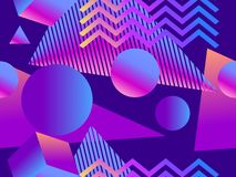 Free Geometric Seamless Pattern With Gradient Shapes In Memphis Style. Style Of 80`s. Synthwave, Futurism Background. Retrowave. Vector Royalty Free Stock Photos - 161267498