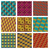 Geometric seamless patterns. Nine different geometric seamless patterns Stock Photography