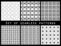 Geometric seamless patterns black and white set. Royalty Free Stock Photo