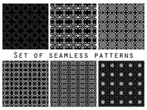 Geometric seamless patterns black and white set. Vector Stock Photography