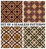 Geometric seamless patterns with celtic ornament of brown, white, khaki, and beige shades. Set of 4 abstract contemporary geometric seamless patterns with celtic Stock Photo