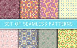Geometric seamless patterns. Collection of colored backgrounds. For textile, fabrics or wallpapers Stock Images