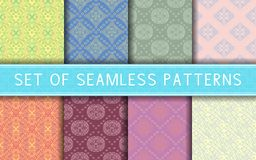 Geometric seamless patterns. Collection of colored backgrounds. For textile, fabrics or wallpapers Stock Photo
