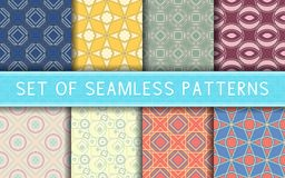 Geometric seamless patterns. Collection of colored backgrounds. For textile, fabrics or wallpapers vector illustration