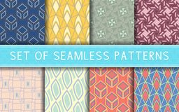 Geometric seamless patterns. Collection of colored backgrounds. For textile, fabrics or wallpapers royalty free illustration
