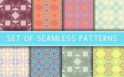 Geometric seamless patterns. Collection of colored backgrounds. For textile, fabrics or wallpapers Royalty Free Stock Image