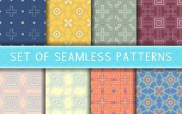 Geometric seamless patterns. Collection of colored backgrounds. For textile, fabrics or wallpapers Stock Image