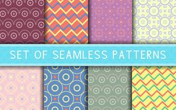 Geometric seamless patterns. Collection of colored backgrounds. For textile, fabrics or wallpapers Royalty Free Stock Photo