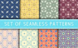 Geometric seamless patterns. Collection of colored backgrounds. For textile, fabrics or wallpapers Royalty Free Stock Images