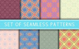 Geometric seamless patterns. Collection of colored backgrounds. For textile, fabrics or wallpapers Royalty Free Stock Photography