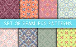 Geometric seamless patterns. Collection of colored backgrounds. For textile, fabrics or wallpapers Stock Photos