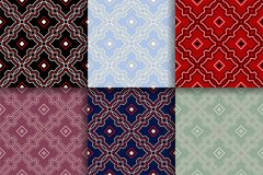 Geometric seamless patterns. Collection of colored backgrounds. For textile, fabrics or wallpapers Stock Photography