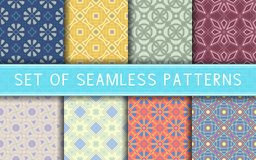 Geometric seamless patterns. Collection of colored backgrounds. For textile, fabrics or wallpapers Stock Illustration