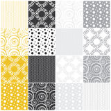 Geometric seamless patterns: dots, circles and wav. Yellow and gray geometric seamless patterns with dots, circles and waves, vector illustration Stock Photography