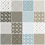 Geometric seamless patterns: dots, squares Royalty Free Stock Photo