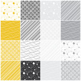 Geometric seamless patterns: dots, waves, stripes. Set of 16 seamless patterns with dots, waves and stripes, vector illustration Stock Photos