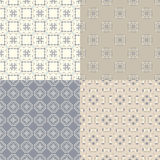 Geometric seamless patterns. Elegant collection of four geometric seamless patterns. Ornamental background for cards, invitations, web pages. Retro texture or Royalty Free Stock Photo