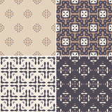 Geometric seamless patterns. Elegant collection of four geometric seamless patterns. Ornamental background for cards, invitations, web pages. Retro texture or Royalty Free Stock Photos