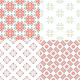 Geometric seamless patterns. Elegant collection of four geometric seamless patterns. Ornamental background for cards, invitations, web pages. Retro texture or Stock Image