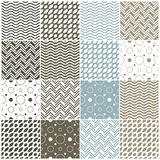 Geometric Seamless Patterns: Polka Dots, Waves, Ch Stock Photos