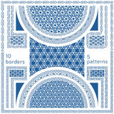 Geometric seamless patterns. Set of 10 abstract frame borders. Geometric seamless patterns. Set of 10 abstract frame border motifs and 5 ornaments in oriental vector illustration