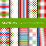 Geometric seamless patterns. Set of geometric seamless patterns. The patterns are composed of dots, stripes, rhombus, zigzag and squama. Designs suitable for Royalty Free Stock Images