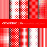 Geometric seamless patterns. Set of geometric seamless patterns. The patterns are composed of dots, stripes, rhombus, zigzag and squama. Designs suitable for Stock Photos