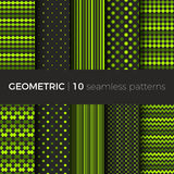 Geometric seamless patterns. Set of geometric seamless patterns. The patterns are composed of dots, stripes, rhombus, zigzag and squama. Designs suitable for Royalty Free Stock Photos