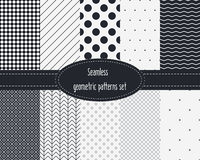 Geometric Seamless Patterns Set. Dark and light grey colors. Black and White. Stock Photos