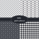 Geometric Seamless Patterns Set. Dark and light grey colors. Black and White Royalty Free Stock Photography