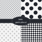 Geometric Seamless Patterns Set. Dark and light grey colors. Black and White Royalty Free Stock Image