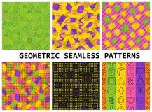 Geometric seamless patterns set. Hipster fashion Memphis style Royalty Free Stock Image