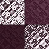 Geometric set of maroon seamless patterns for design. Geometric seamless patterns. Set of maroon backgrounds for wallpapers and fabrics. Vector illustration Royalty Free Stock Photos