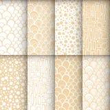 Geometric seamless patterns set, neutral Royalty Free Stock Photo