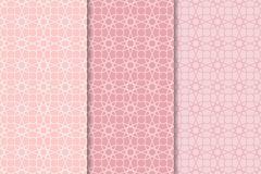 Geometric set of pale pink seamless patterns for design Stock Photo