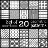 20 geometric seamless patterns set. Royalty Free Stock Photo