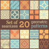 20 geometric seamless patterns set. Stock Photos