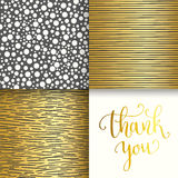 3 geometric seamless patterns set. Thank you hand. Vector illustration, template for design Royalty Free Stock Photography