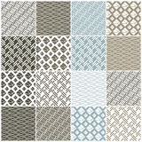 Geometric seamless patterns: squares, lines, waves Stock Photography
