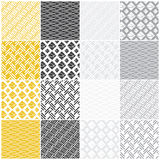 Geometric seamless patterns: squares, lines, waves. Set of 16 seamless patterns with dots, waves and stripes, vector illustration Royalty Free Stock Image
