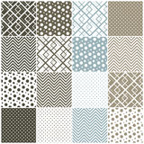Geometric seamless patterns: squares, polka dots,  Stock Images