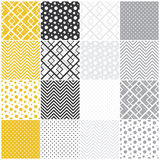 Geometric seamless patterns: squares, polka dots,. Set of 16 seamless patterns with squares, polka dots and chevron, vector illustration stock illustration