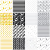 Geometric Seamless Patterns: Stripes, Waves, Dots, Royalty Free Stock Photo