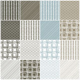 Geometric seamless patterns: swaves,circles, lines. Set of 16 seamless patterns with waves, circles and lines, vector illustration Stock Images