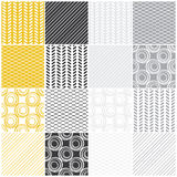 Geometric seamless patterns: swaves,circles, lines. Set of 16 seamless patterns with waves, circles and lines, vector illustration Royalty Free Stock Photography
