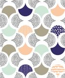 Geometric seamless repeat pattern with dots and curves. Geometric seamless repeat pattern with dots and curved shapes Stock Photo