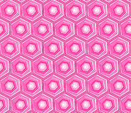 Geometric seamless repeating pattern with hexagon shapes in pastel pink and hand drawn dots texture. Royalty Free Stock Photos
