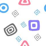 Geometric seamless vector pattern. Colored Hand-drawn symbols royalty free illustration